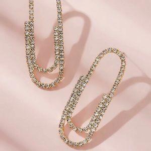 Diamond paper clip earrings
